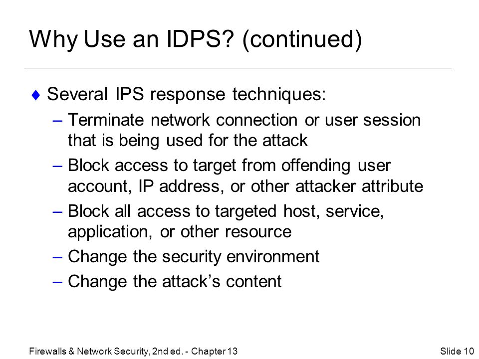 Why Use an IDPS.