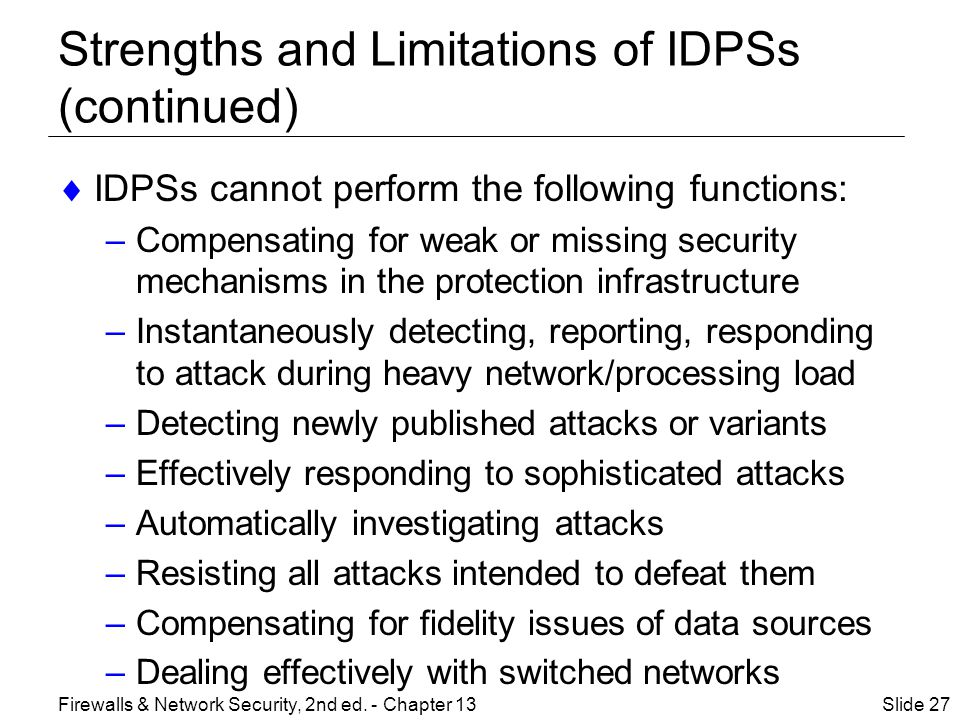 Strengths and Limitations of IDPSs (continued)  IDPSs cannot perform the following functions: –Compensating for weak or missing security mechanisms in the protection infrastructure –Instantaneously detecting, reporting, responding to attack during heavy network/processing load –Detecting newly published attacks or variants –Effectively responding to sophisticated attacks –Automatically investigating attacks –Resisting all attacks intended to defeat them –Compensating for fidelity issues of data sources –Dealing effectively with switched networks Slide 27Firewalls & Network Security, 2nd ed.