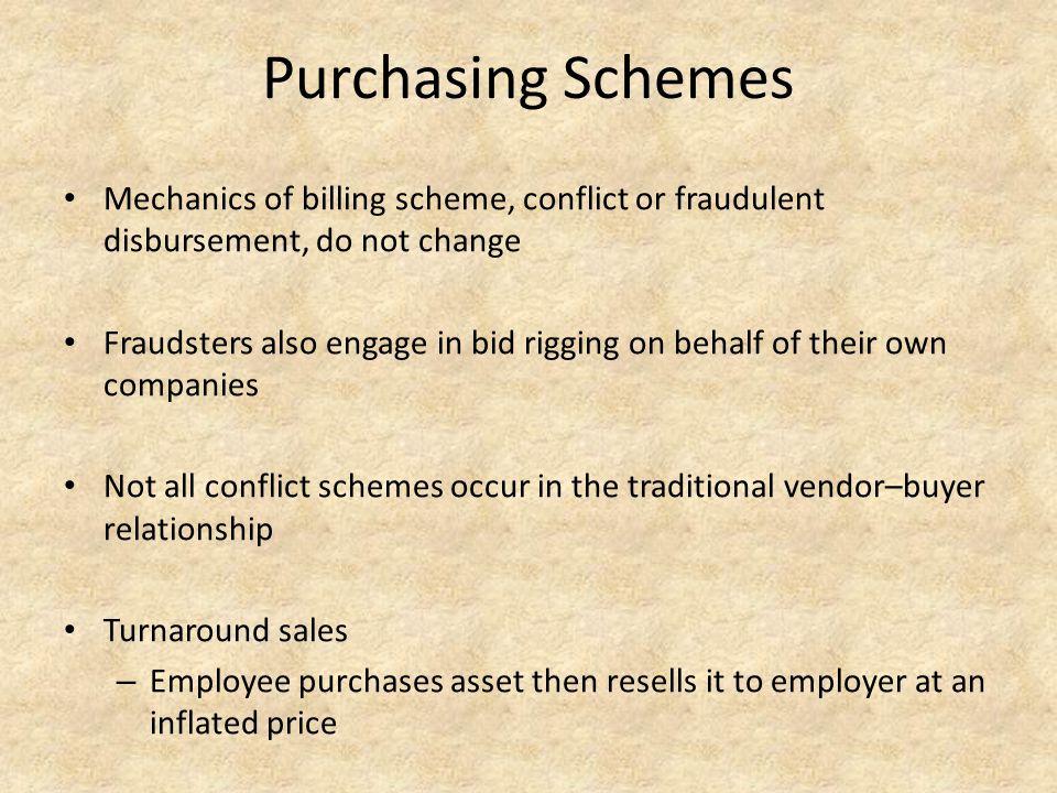Purchasing Schemes Mechanics of billing scheme, conflict or fraudulent disbursement, do not change Fraudsters also engage in bid rigging on behalf of