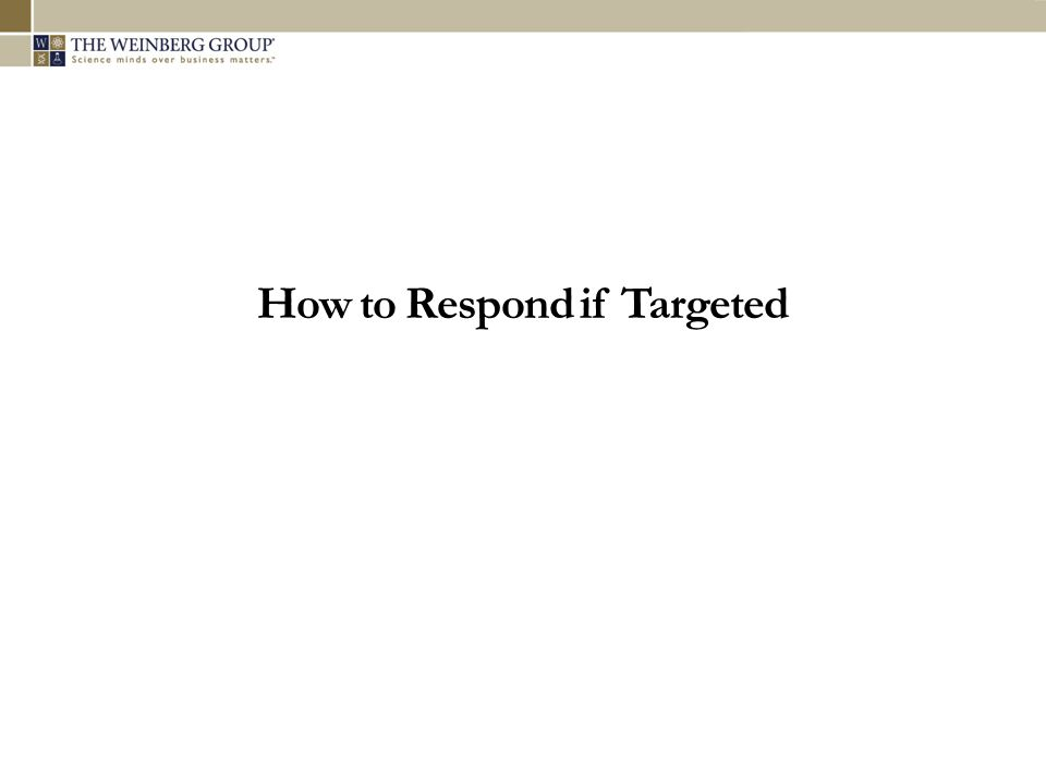 How to Respond if Targeted