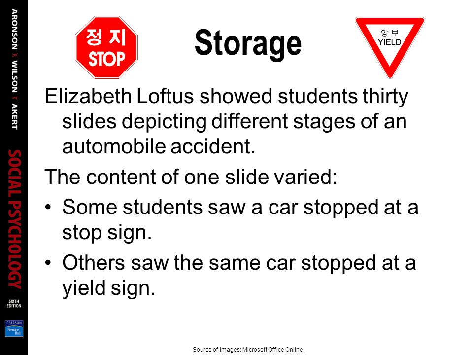 Storage Elizabeth Loftus showed students thirty slides depicting different stages of an automobile accident.