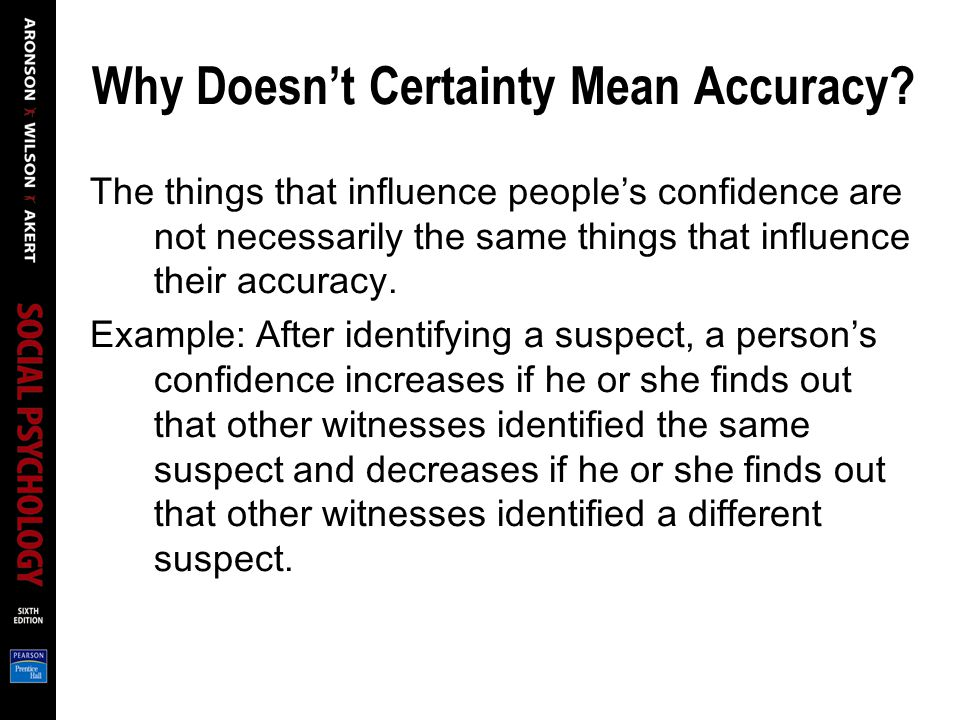 Why Doesn't Certainty Mean Accuracy.