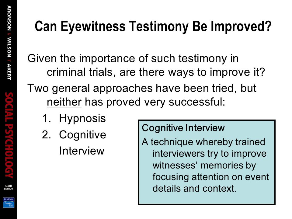 Can Eyewitness Testimony Be Improved.
