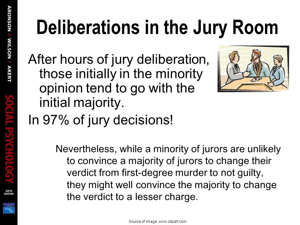 Deliberations in the Jury Room After hours of jury deliberation, those initially in the minority opinion tend to go with the initial majority.