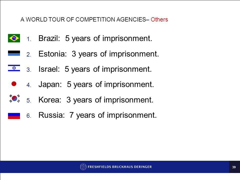 39 A WORLD TOUR OF COMPETITION AGENCIES– Others  Brazil: 5 years of imprisonment.