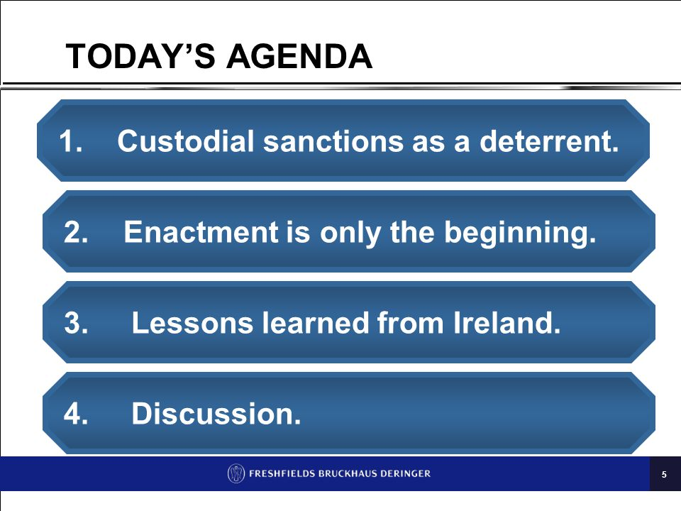 5 TODAY'S AGENDA 1.Custodial sanctions as a deterrent.