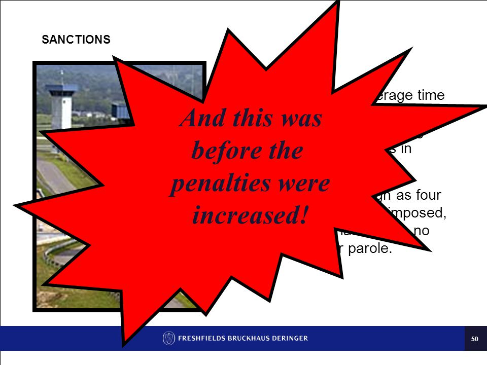 50 SANCTIONS Last year the average time served by persons convicted of price-fixing was over two years in prison.