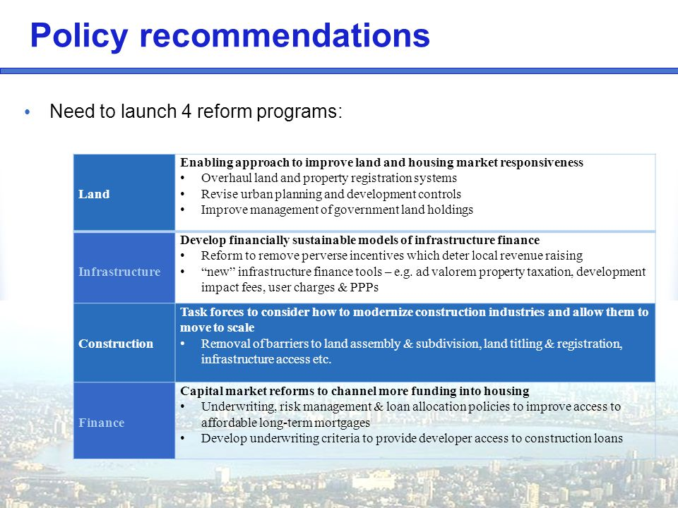 Need to launch 4 reform programs: Policy recommendations Land Enabling approach to improve land and housing market responsiveness Overhaul land and property registration systems Revise urban planning and development controls Improve management of government land holdings Infrastructure Develop financially sustainable models of infrastructure finance Reform to remove perverse incentives which deter local revenue raising new infrastructure finance tools – e.g.