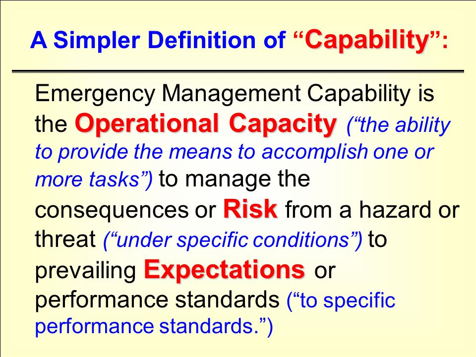 S E S E Katrina S - TIME + CAPABILITY + S E = EXERCISE OR EVENT PRE-EVENT POST-EVENT NEW FEMA/ PKEMRA = STRATEGY DEVELOPMENT & PROCESS PLANNING -