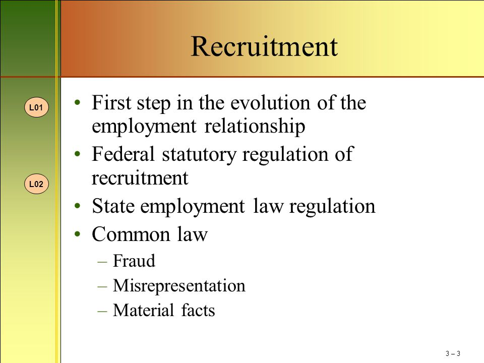Recruitment First step in the evolution of the employment relationship Federal statutory regulation of recruitment State employment law regulation Com