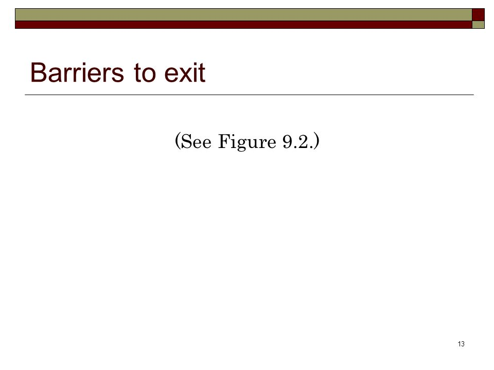 13 Barriers to exit (See Figure 9.2.)