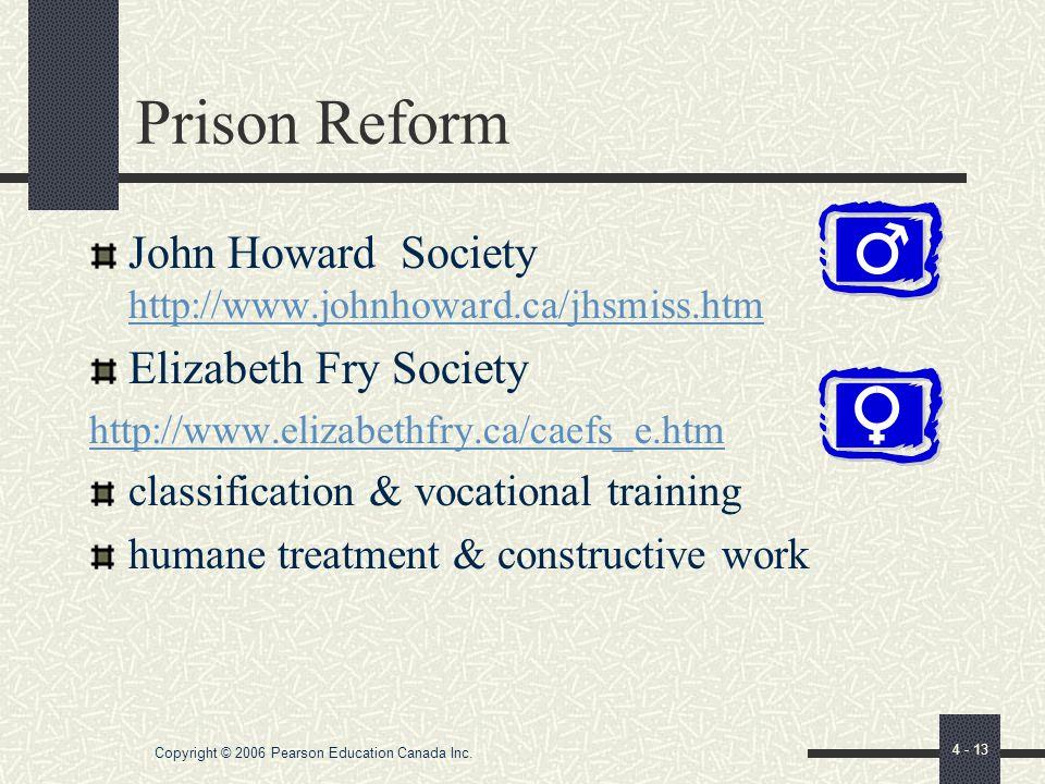 Copyright © 2006 Pearson Education Canada Inc. 4 - 12 Criminology at Work Pioneers in criminal justice & prison reform Alexander Maconochie: Australia