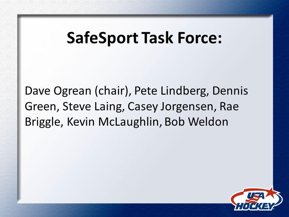 SafeSport Task Force: Dave Ogrean (chair), Pete Lindberg, Dennis Green, Steve Laing, Casey Jorgensen, Rae Briggle, Kevin McLaughlin, Bob Weldon