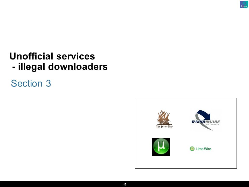 15 Unofficial services - illegal downloaders Section 3