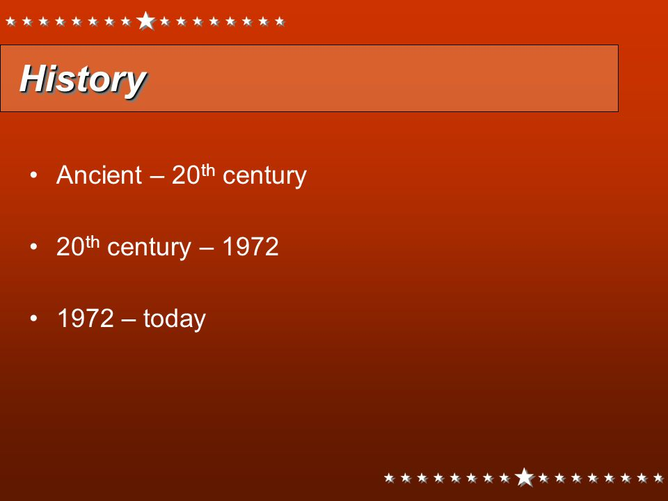 HistoryHistory Ancient – 20 th century 20 th century – 1972 1972 – today Ancient – 20 th century 20 th century – 1972 1972 – today