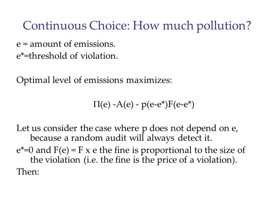 Continuous Choice: How much pollution? e = amount of emissions. e*=threshold of violation. Optimal level of emissions maximizes:  (e) -A(e) - p(e-e*)