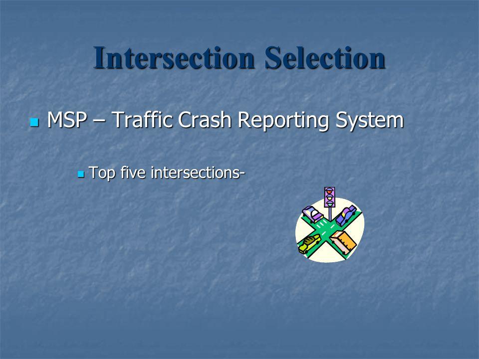 Intersection Selection MSP – Traffic Crash Reporting System MSP – Traffic Crash Reporting System Top five intersections- Top five intersections-
