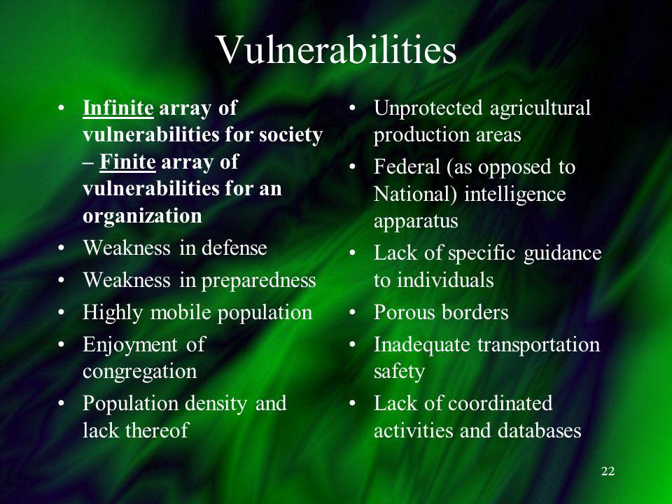 22 Vulnerabilities Infinite array of vulnerabilities for society – Finite array of vulnerabilities for an organization Weakness in defense Weakness in
