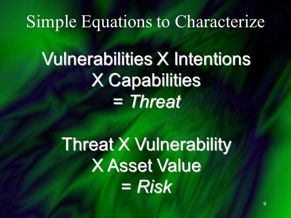 9 Vulnerabilities X Intentions X Capabilities = Threat Threat X Vulnerability X Asset Value = Risk Simple Equations to Characterize