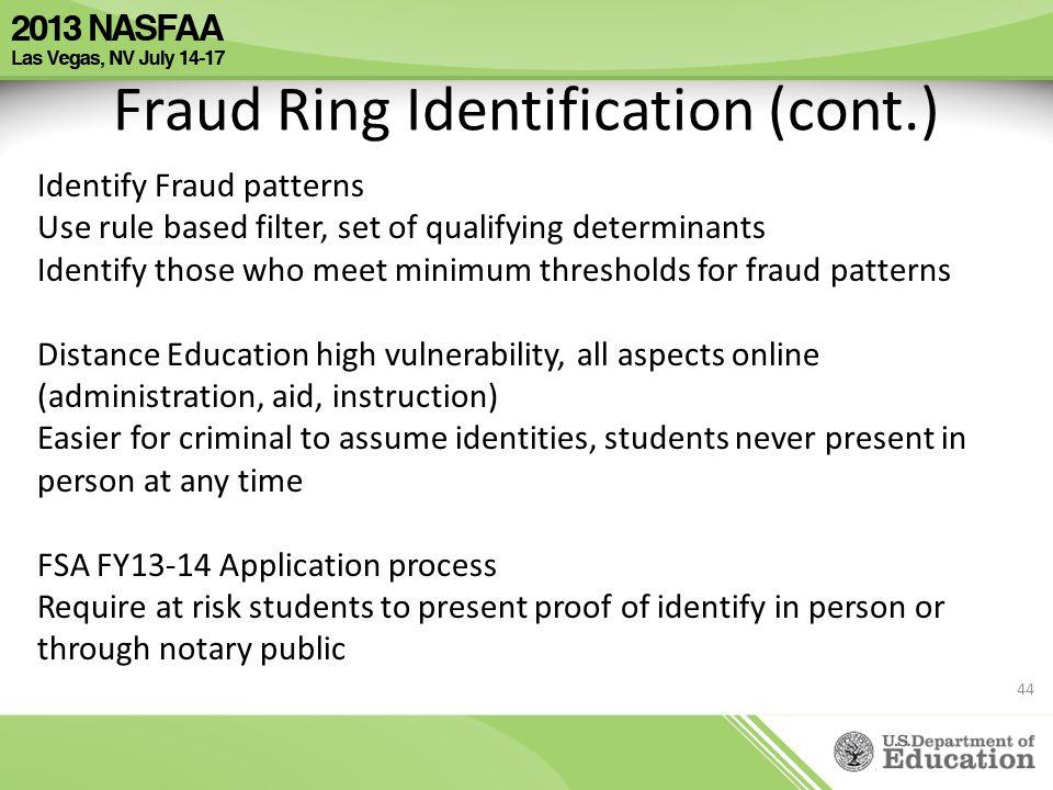 Fraud Ring Identification (cont.) Identify Fraud patterns Use rule based filter, set of qualifying determinants Identify those who meet minimum thresh