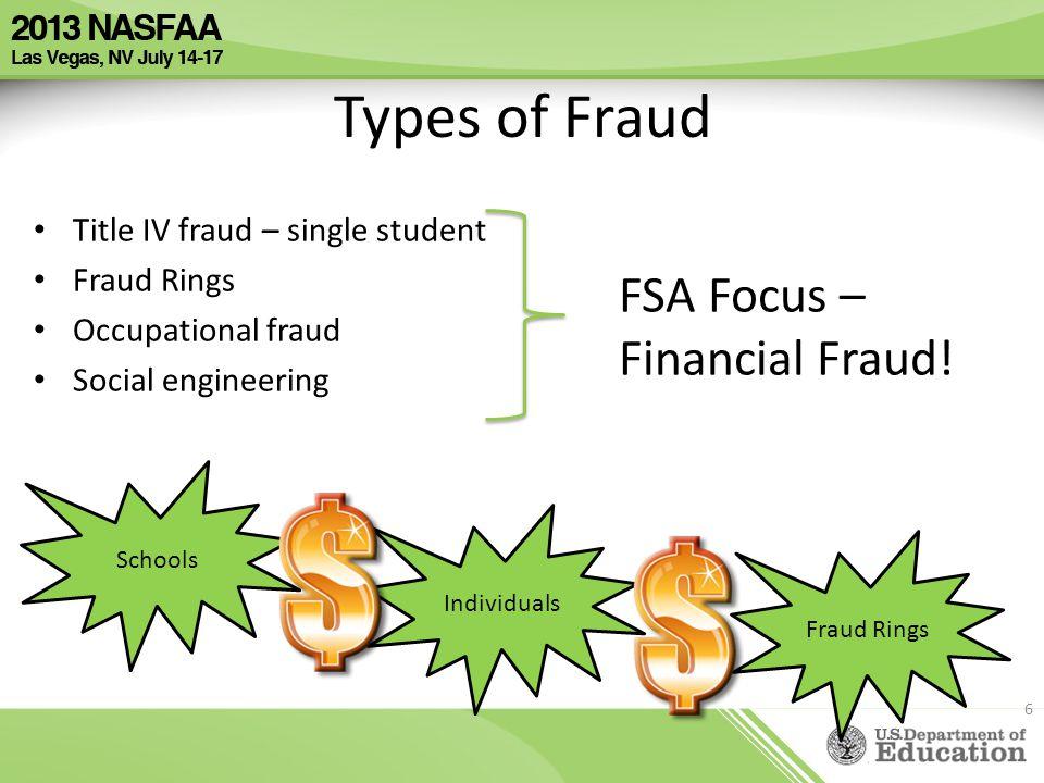Types of Fraud Title IV fraud – single student Fraud Rings Occupational fraud Social engineering FSA Focus – Financial Fraud! 6 Schools Individuals Fr
