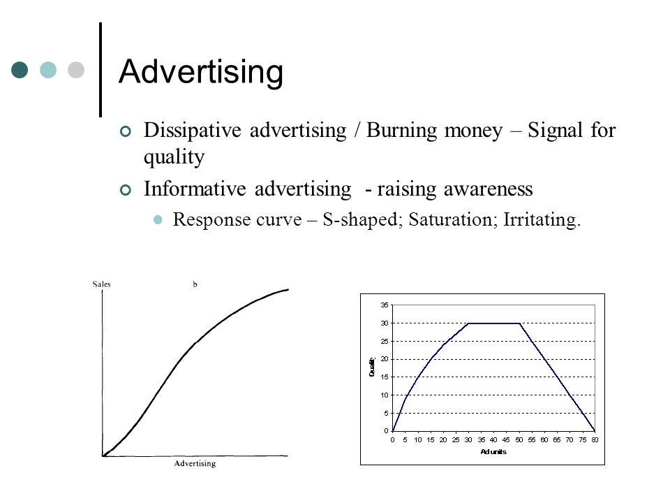 Advertising Dissipative advertising / Burning money – Signal for quality Informative advertising - raising awareness Response curve – S-shaped; Saturation; Irritating.