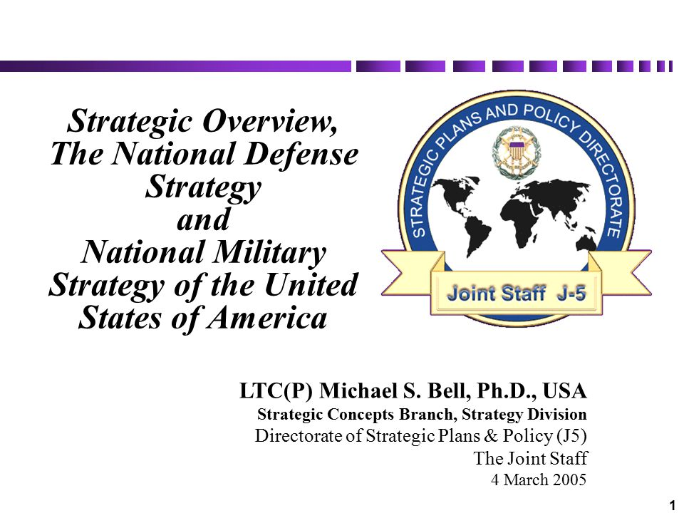 2 Overview Provide an overview of current and emerging strategic guidance: National Security Strategy (NSS) National Defense Strategy (NDS) National Military Strategy (NMS) Provide foundation for QDR analyses, studies, and roles and missions review