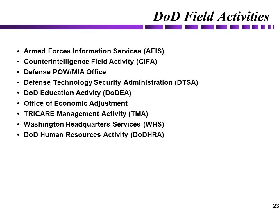 23 DoD Field Activities Armed Forces Information Services (AFIS) Counterintelligence Field Activity (CIFA) Defense POW/MIA Office Defense Technology Security Administration (DTSA) DoD Education Activity (DoDEA) Office of Economic Adjustment TRICARE Management Activity (TMA) Washington Headquarters Services (WHS) DoD Human Resources Activity (DoDHRA)