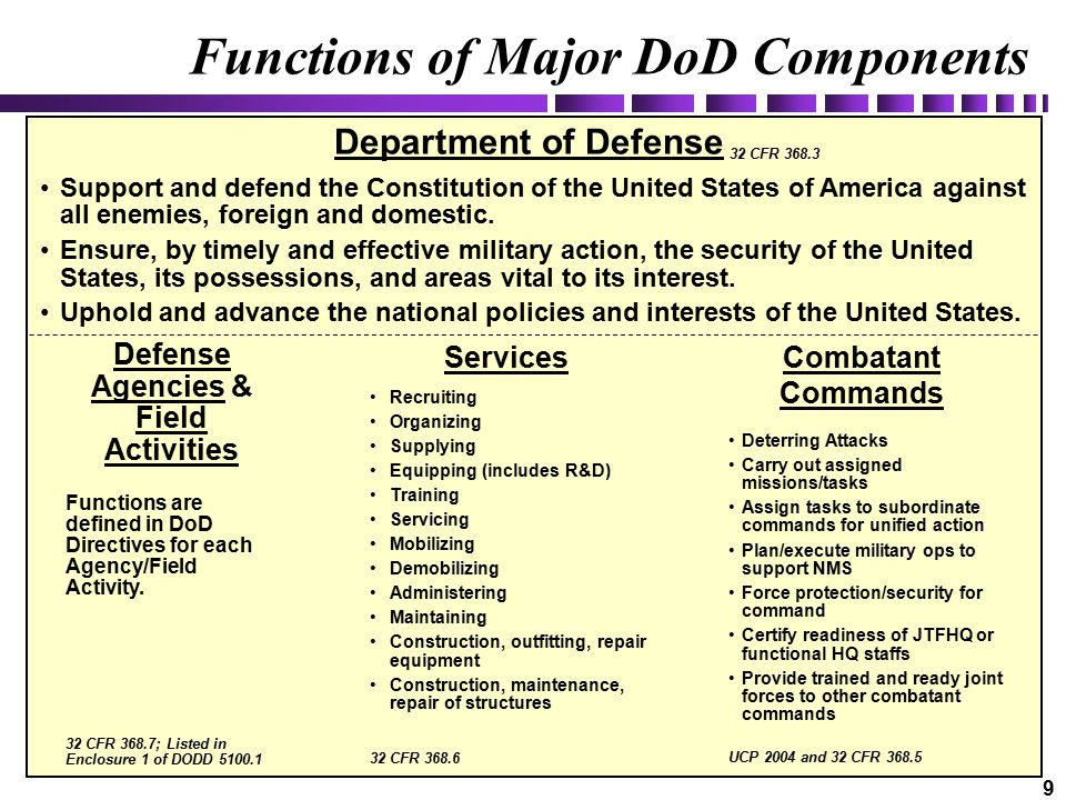 9 Combatant Commands Department of Defense Support and defend the Constitution of the United States of America against all enemies, foreign and domestic.
