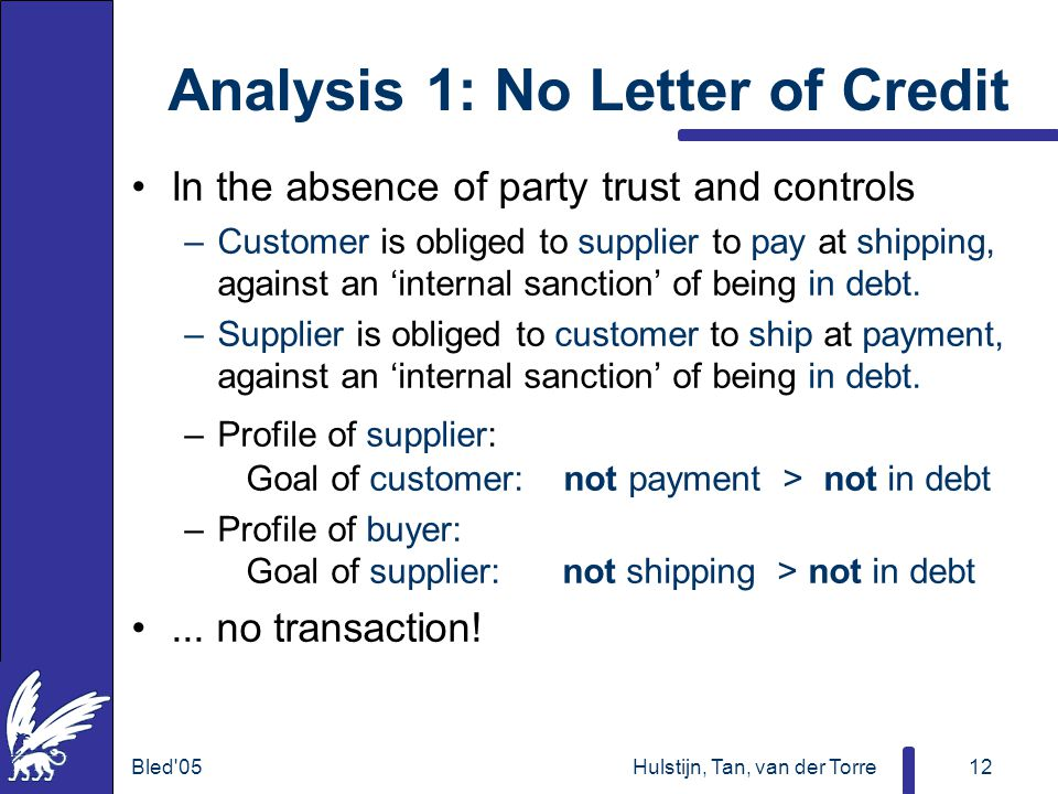 Bled 05Hulstijn, Tan, van der Torre12 Analysis 1: No Letter of Credit In the absence of party trust and controls –Customer is obliged to supplier to pay at shipping, against an 'internal sanction' of being in debt.