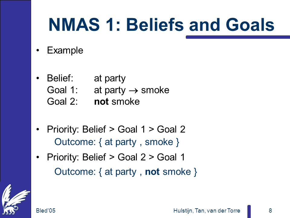Bled 05Hulstijn, Tan, van der Torre8 NMAS 1: Beliefs and Goals Example Belief:at party Goal 1:at party  smoke Goal 2:not smoke Priority: Belief > Goal 1 > Goal 2 Priority: Belief > Goal 2 > Goal 1 Outcome: { at party, smoke } Outcome: { at party, not smoke }
