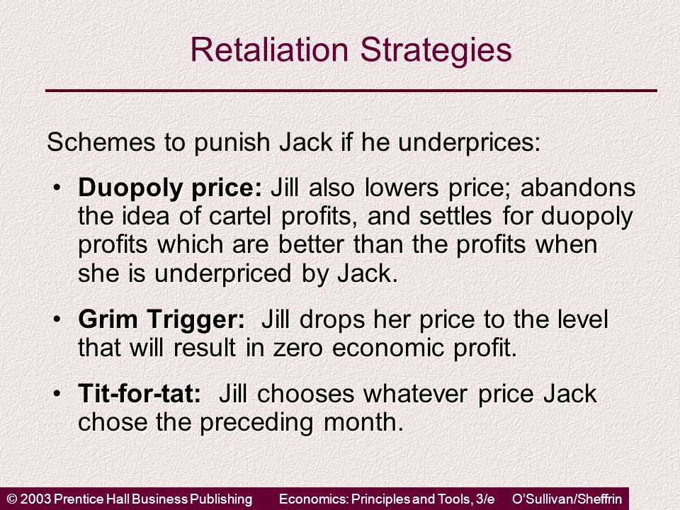 © 2003 Prentice Hall Business PublishingEconomics: Principles and Tools, 3/e O'Sullivan/Sheffrin Retaliation Strategies Duopoly price: Jill also lowers price; abandons the idea of cartel profits, and settles for duopoly profits which are better than the profits when she is underpriced by Jack.Duopoly price: Jill also lowers price; abandons the idea of cartel profits, and settles for duopoly profits which are better than the profits when she is underpriced by Jack.
