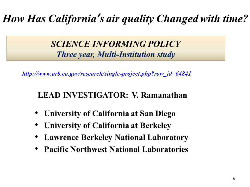 SCIENCE INFORMING POLICY Three year, Multi-Institution study University of California at San Diego University of California at Berkeley Lawrence Berkeley National Laboratory Pacific Northwest National Laboratories LEAD INVESTIGATOR: V.