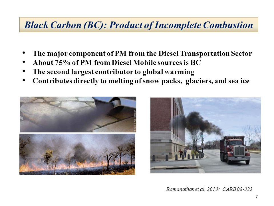 Black Carbon (BC): Product of Incomplete Combustion The major component of PM from the Diesel Transportation Sector About 75% of PM from Diesel Mobile