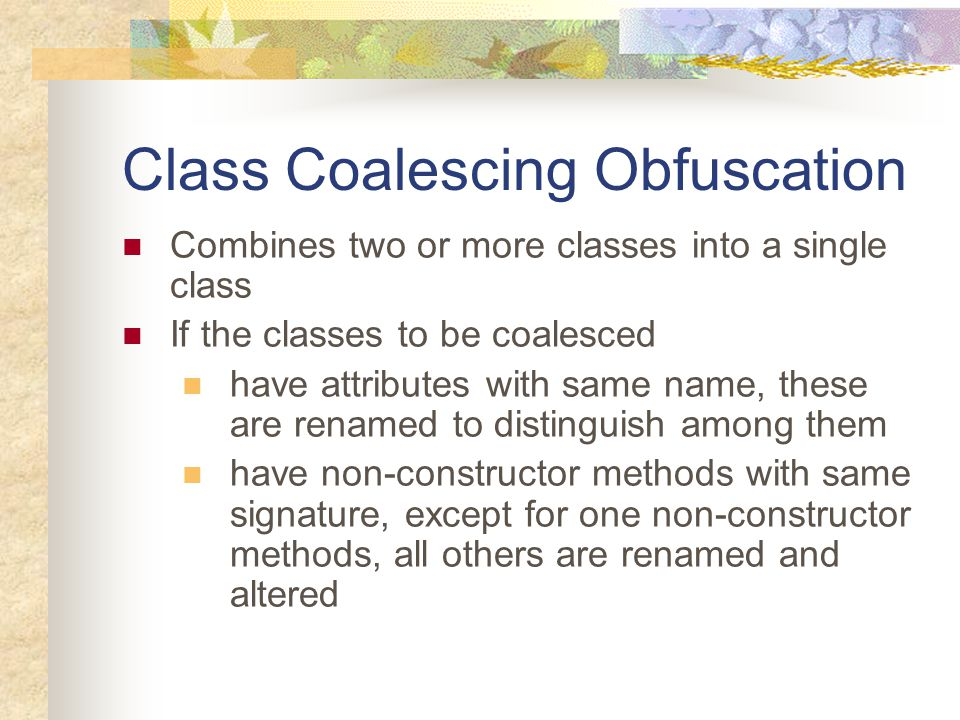 Class Coalescing Obfuscation Example