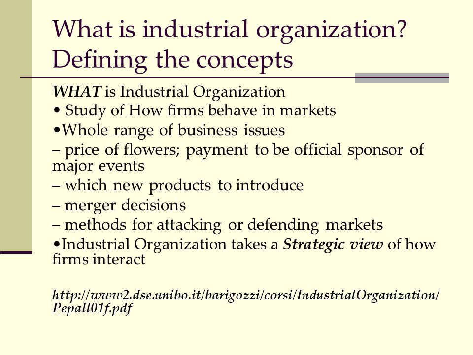 What is industrial organization? Defining the concepts WHAT is Industrial Organization Study of How firms behave in markets Whole range of business is