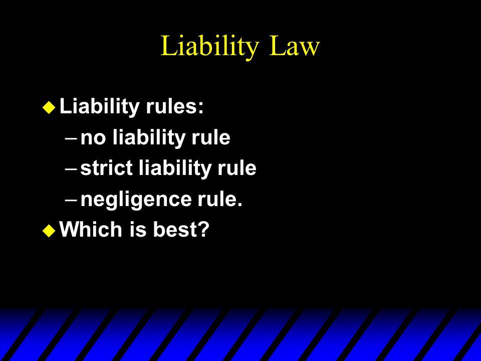 Liability Law u Liability rules: –no liability rule –strict liability rule –negligence rule.