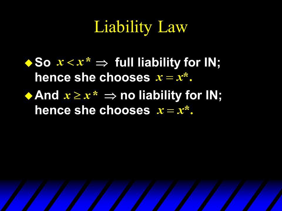 Liability Law u So  full liability for IN; hence she chooses u And  no liability for IN; hence she chooses