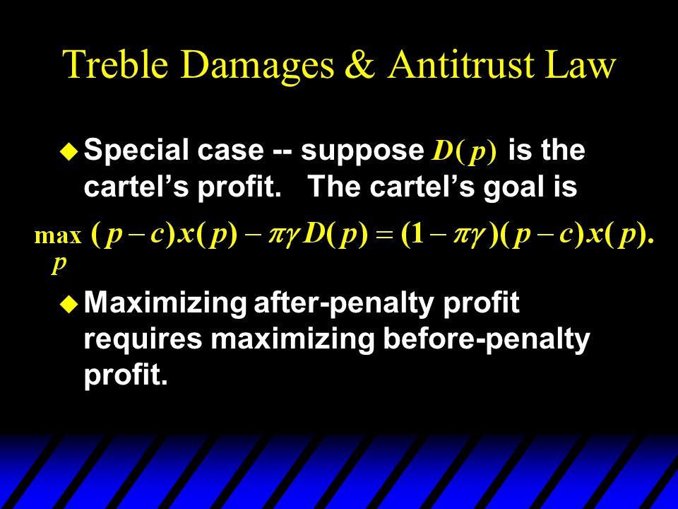 Treble Damages & Antitrust Law u Special case -- suppose is the cartel's profit.