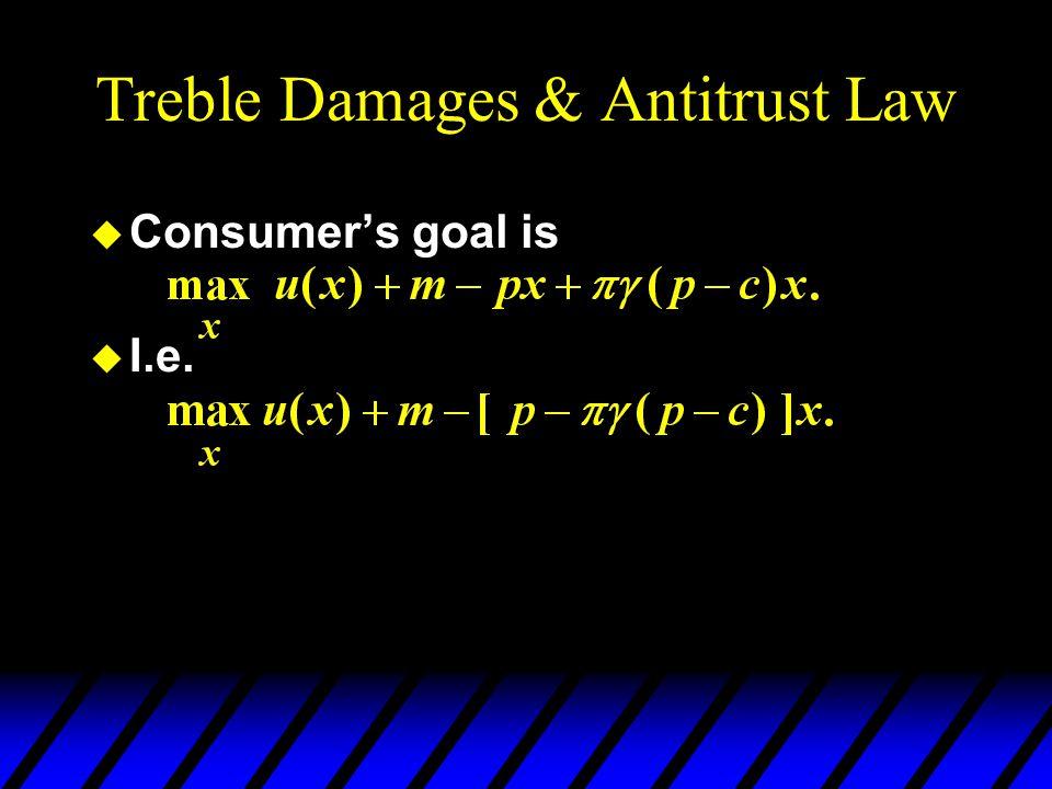Treble Damages & Antitrust Law u Consumer's goal is u I.e.