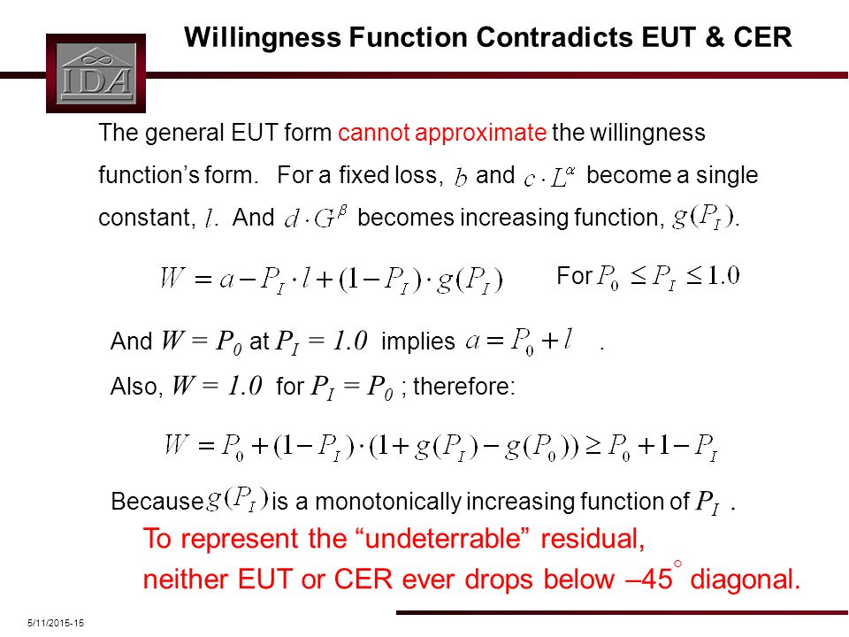 5/11/2015-15 Willingness Function Contradicts EUT & CER The general EUT form cannot approximate the willingness function's form. For a fixed loss, and