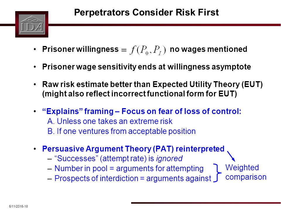 5/11/2015-18 Perpetrators Consider Risk First Prisoner willingness no wages mentioned Prisoner wage sensitivity ends at willingness asymptote Raw risk