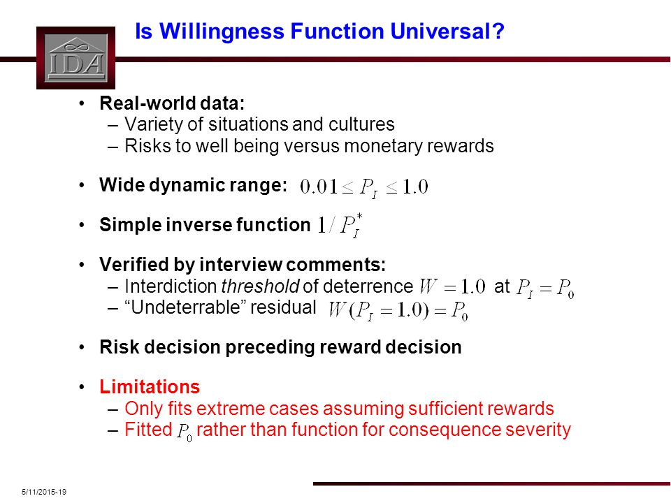 5/11/2015-19 Is Willingness Function Universal? Real-world data: –Variety of situations and cultures –Risks to well being versus monetary rewards Wide