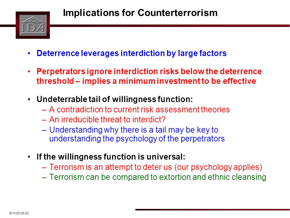 5/11/2015-20 Implications for Counterterrorism Deterrence leverages interdiction by large factors Perpetrators ignore interdiction risks below the det