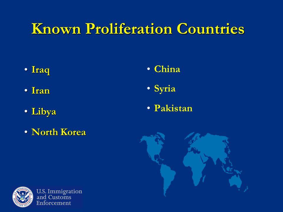 Known Proliferation Countries IraqIraq IranIran LibyaLibya North KoreaNorth Korea China Syria Pakistan
