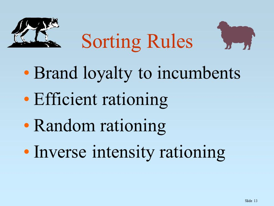 Slide 13 Sorting Rules Brand loyalty to incumbents Efficient rationing Random rationing Inverse intensity rationing