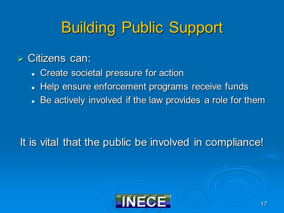 17 Building Public Support  Citizens can: Create societal pressure for action Create societal pressure for action Help ensure enforcement programs receive funds Help ensure enforcement programs receive funds Be actively involved if the law provides a role for them Be actively involved if the law provides a role for them It is vital that the public be involved in compliance!