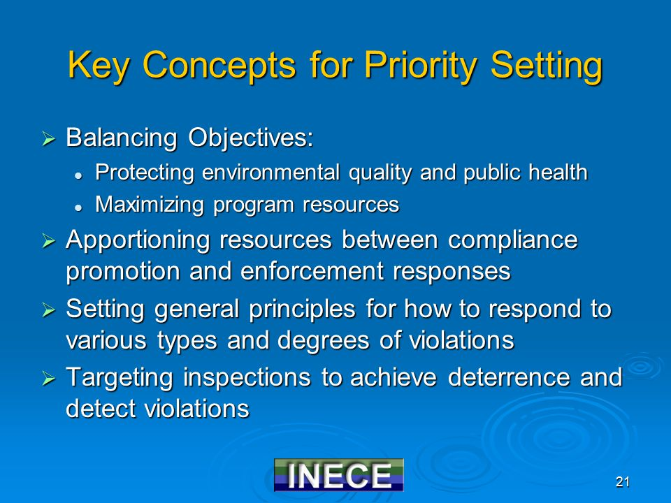 21 Key Concepts for Priority Setting  Balancing Objectives: Protecting environmental quality and public health Protecting environmental quality and public health Maximizing program resources Maximizing program resources  Apportioning resources between compliance promotion and enforcement responses  Setting general principles for how to respond to various types and degrees of violations  Targeting inspections to achieve deterrence and detect violations