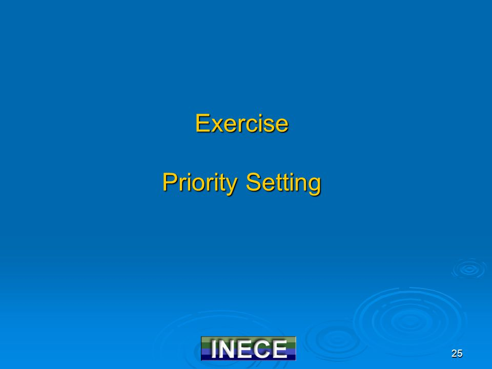 25 Exercise Priority Setting