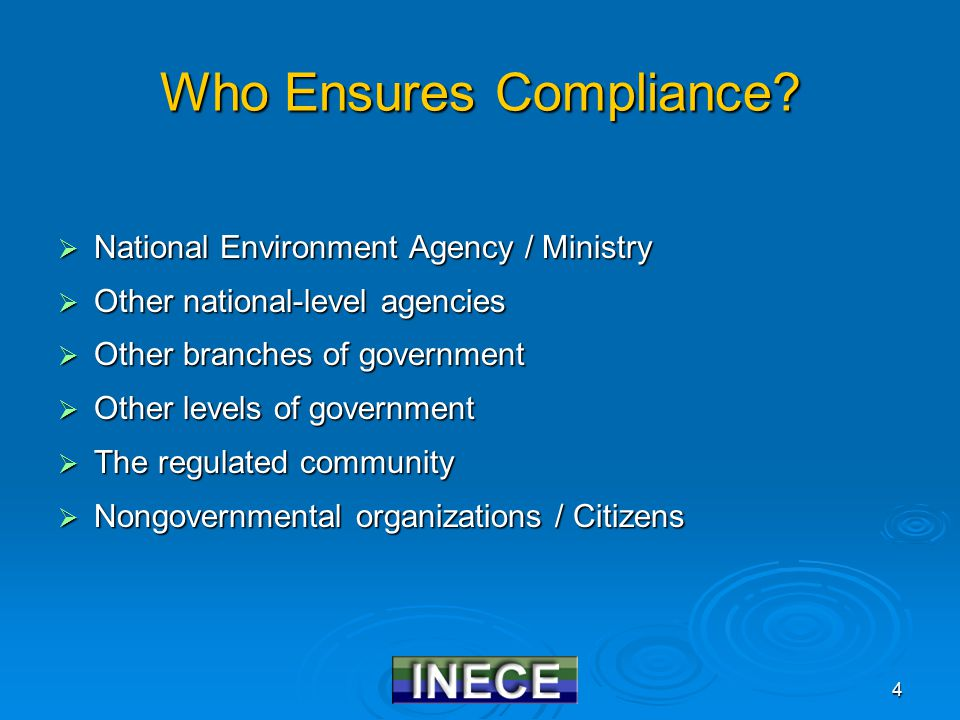 5 Ways to Involve the Public in Compliance  Transparency of Government E.g., government should notify public that requirements are being formulated E.g., government should notify public that requirements are being formulated  Access to Information E.g., public should be able to receive information from government on details of regulatory process E.g., public should be able to receive information from government on details of regulatory process  Opportunity for Participation E.g., public should be able to report violators and/or file citizen suits to force compliance E.g., public should be able to report violators and/or file citizen suits to force compliance